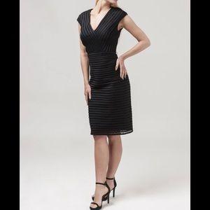 Tadashi Shoji Collection Black Striped Lace Dress